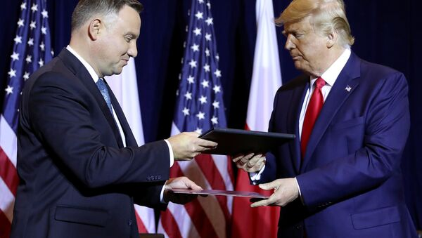 Prezydenci USA i Polski Donald Trump i Andrzej Duda podczas rozmów - Sputnik Polska