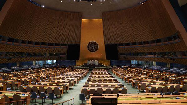Pusta sala Zgromadzenia Ogólnego ONZ - Sputnik Polska