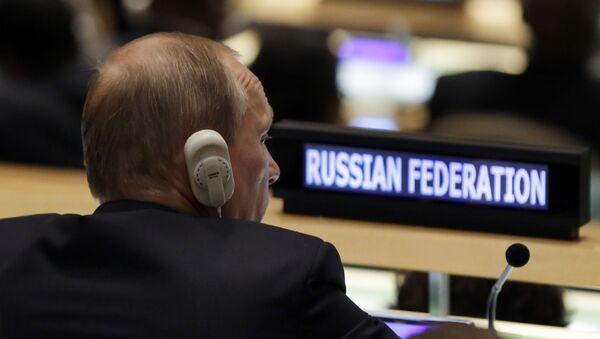 Prezydent Rosji Władimir Putin występuje z trybuny Zgromadzenia Ogólnego ONZ - Sputnik Polska