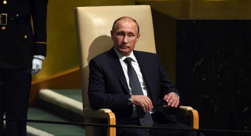 Prezydent Rosji Władimir Putin przed przemówieniem na posiedzeniu plenarnym 70. sesji Zgromadzenia Ogólnego ONZ w Nowym Jorku