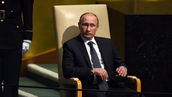 Prezydent Rosji Władimir Putin przed przemówieniem na posiedzeniu plenarnym 70. sesji Zgromadzenia Ogólnego ONZ w Nowym Jorku - Sputnik Polska