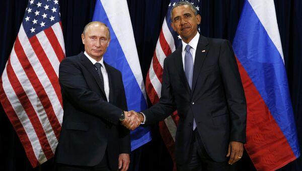 Prezydent Rosji Władimir Putin i prezydent USA Barack Obama na 70. sesji Zgromadzenia Ogólnego ONZ w Nowym Jorku - Sputnik Polska