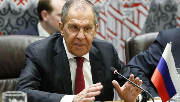Minister spraw zagranicznych Rosji Siergiej Ławrow w siedzibie ONZ w Nowym Jorku - Sputnik Polska