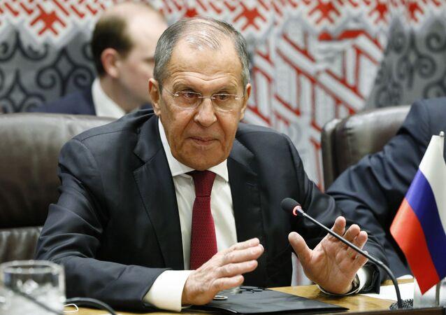 Minister spraw zagranicznych Rosji Siergiej Ławrow w siedzibie ONZ w Nowym Jorku
