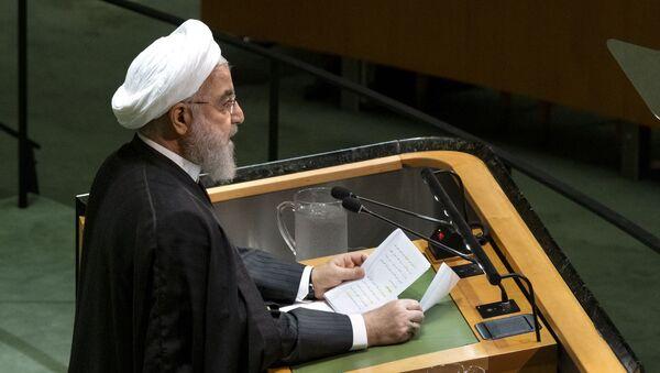 Prezydent Iranu Hasan Rouhani w czasie wystąpienia na forum Zgromadzenia Ogólnego ONZ - Sputnik Polska