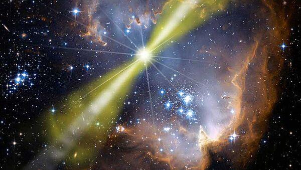 Artystyczne wyobrażenie jednego modelu jasnego rozbłysku gamma GRB 080319B - Sputnik Polska