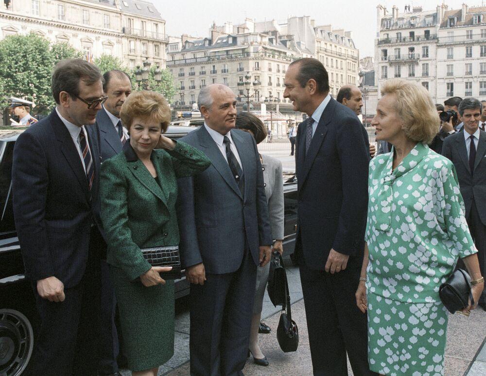 Jacques Chirac podczas spotkania z Michaiłem Gorbaczowym w Paryżu, 1989 rok