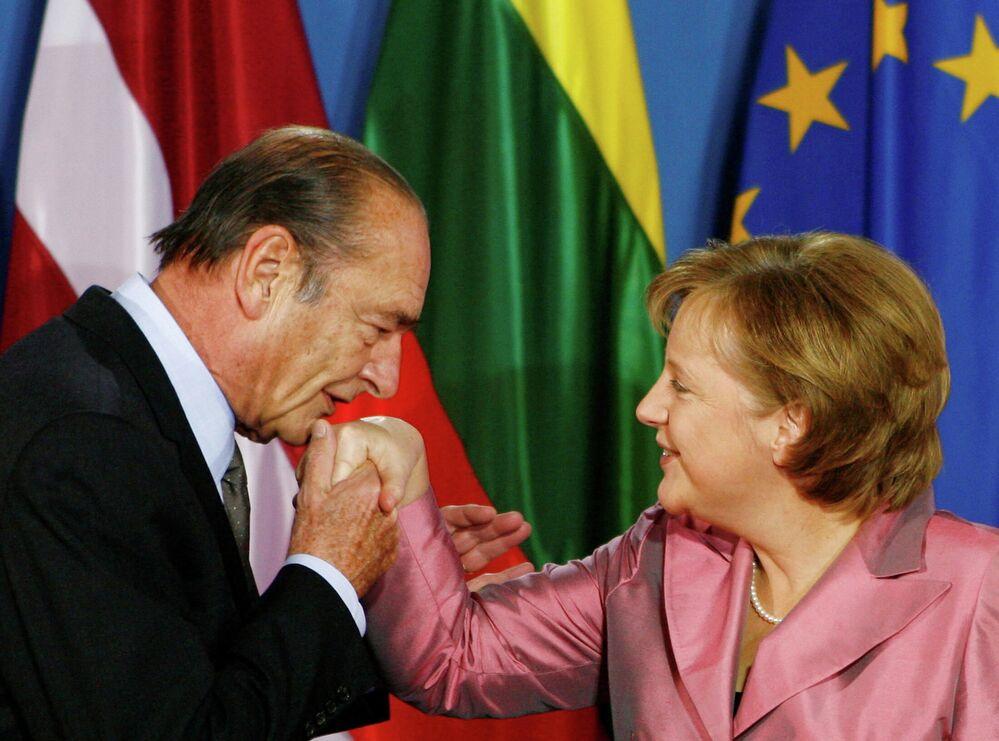 Jacques Chirac i Angela Merkel, 24 marca 2007 roku