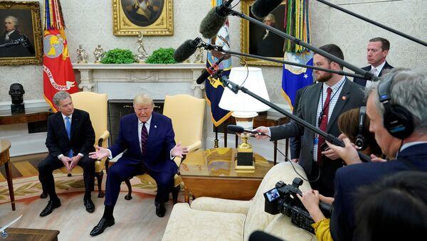 Prezydent Stanów Zjednoczonych Donald Trump w trakcie spotkania z prezydentem Finlandii Sauli Niinistö. - Sputnik Polska
