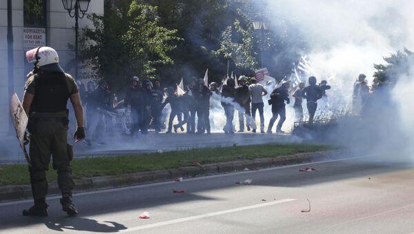 Antyamerykańskie protesty w Atenach.  - Sputnik Polska