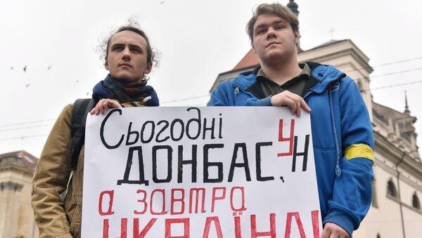Protesty w sprawie Donbasu - Sputnik Polska