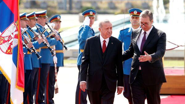 Recep Tayyip Erdogan i Aleksandar Vucic  - Sputnik Polska