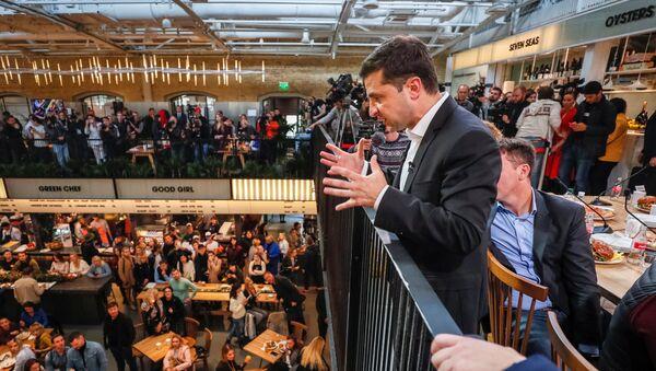Prezydent Ukrainy Wołodymyr Zełenski w czasie konferencji prasowej w Kijowie - Sputnik Polska