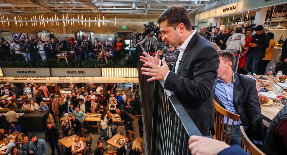 Prezydent Ukrainy Wołodymyr Zełenski w czasie konferencji prasowej w Kijowie