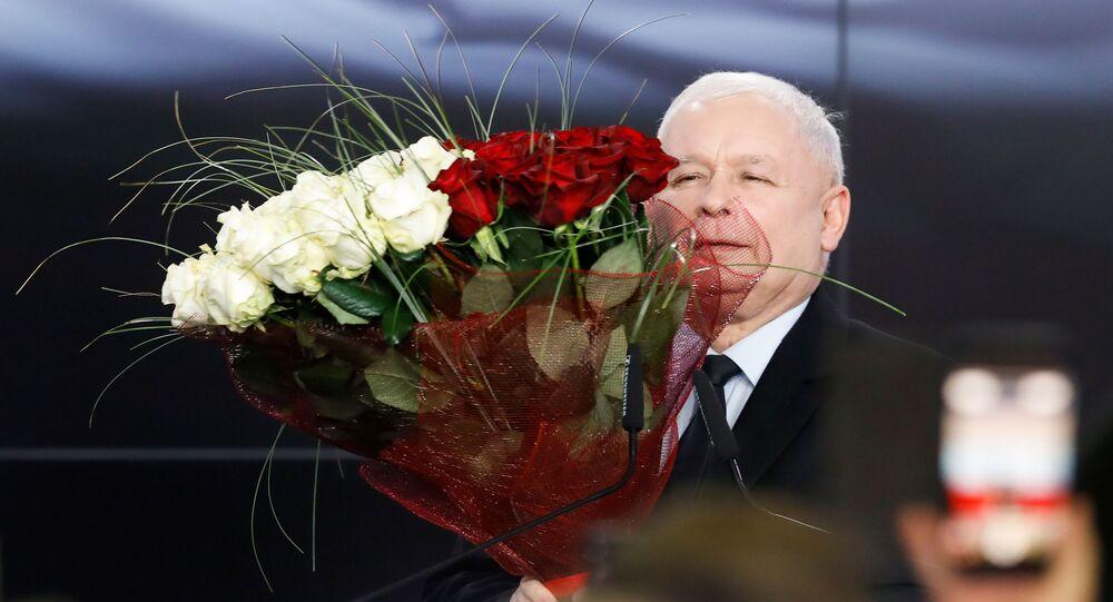 Lider PiS Jarosław Kaczyński po ogłoszeniu wyników wyborów parlamentarnych w Polsce