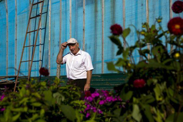 Emeryt w swoim ogródku w miejscowości Otrada na wyspie Kunaszyr - Sputnik Polska