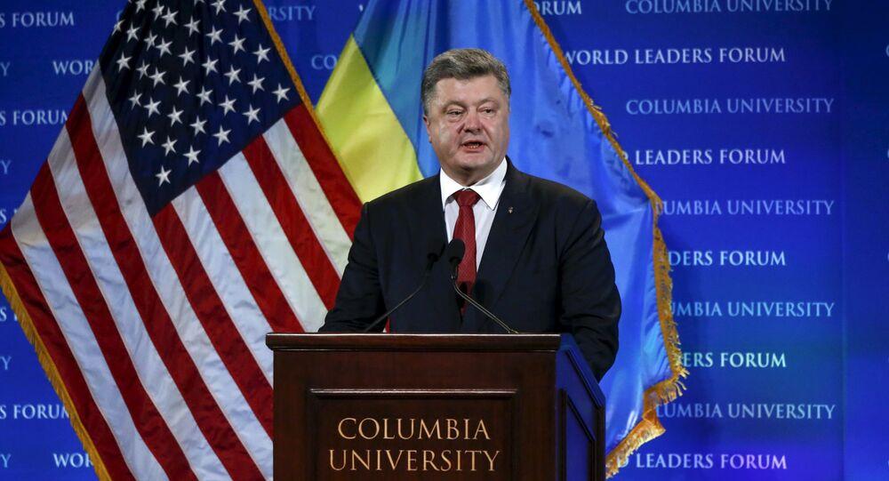 Prezydent Ukrainy Petro Poroszenko na Uniwersytecie Columbia w Nowym Jorku