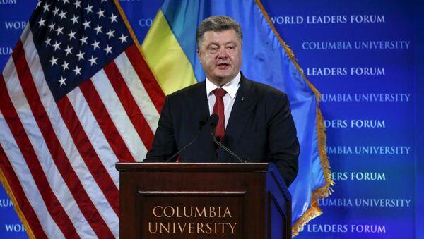 Prezydent Ukrainy Petro Poroszenko na Uniwersytecie Columbia w Nowym Jorku - Sputnik Polska