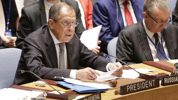 Minister spraw zagranicznych Rosji Siergiej Ławrow na posiedzeniu Rady Bezpieczeństwa ONZ - Sputnik Polska