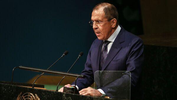 Minister spraw zagranicznych Rosji Siergiej Ławrow na szczycie ONZ w Nowym Jorku - Sputnik Polska