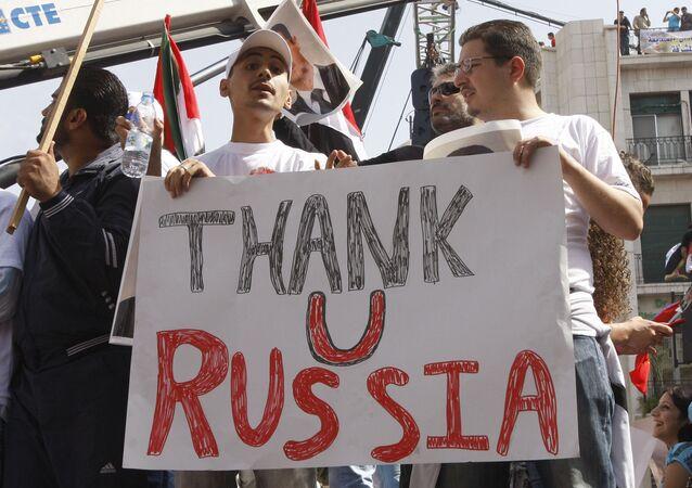 Demonstracja na rzecz poparcia Rosji w Damaszku