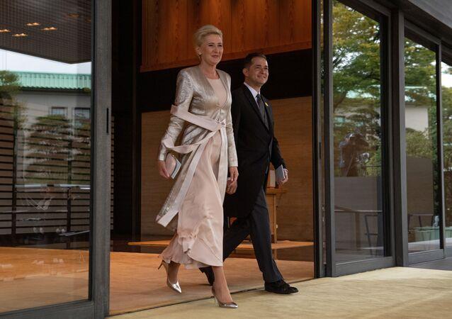 Agata Kornhauser-Duda i ambasador Polski Paweł Milewski w Tokio