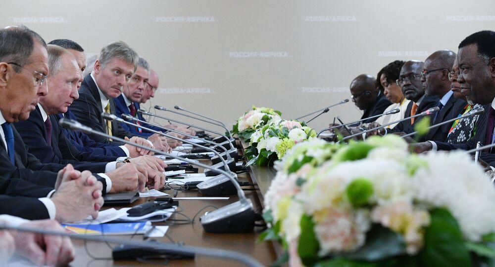 Prezydent Rosji Władimir Putin w czasie spotkania z przewodniczącymi regionalnych organizacji Afryki
