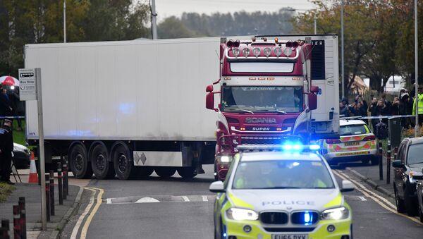 Ciężarówka, w której znaleziono 39 ciał, Wielka Brytania, Essex  - Sputnik Polska