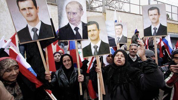 Wiec poparcia na rzecz Rosji w Damaszku - Sputnik Polska