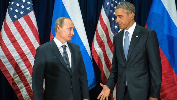 Prezydent Rosji Władimir Putin i prezydent USA Barack Obama podczas spotkania w ramach 70. Zgromadzenia Ogólnego ONZ w Nowym Jorku - Sputnik Polska
