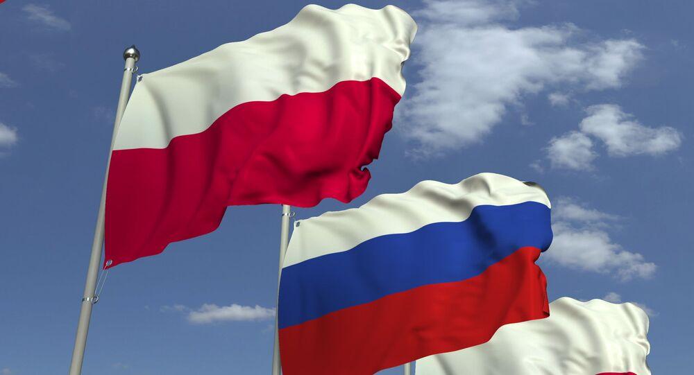 Flagi Rosji i Polski.
