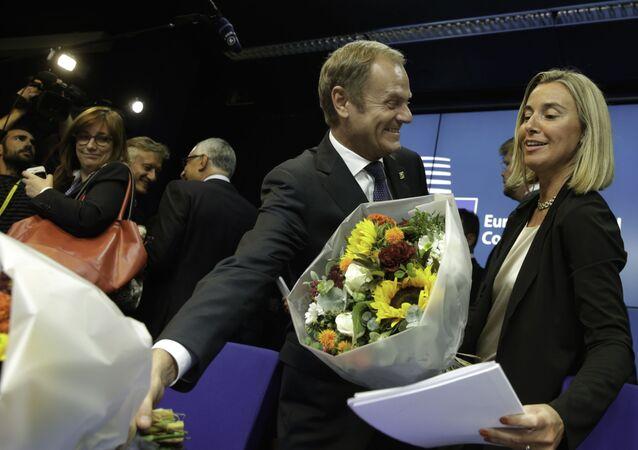 Donald Tusk z Federicą Mogherini Bruksela, 30 sierpnia 2014