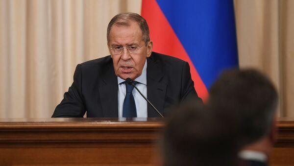 Minister spraw zagranicznych Rosji w czasie konferencji prasowej w Domu Przyjęć MSZ Rosji  - Sputnik Polska
