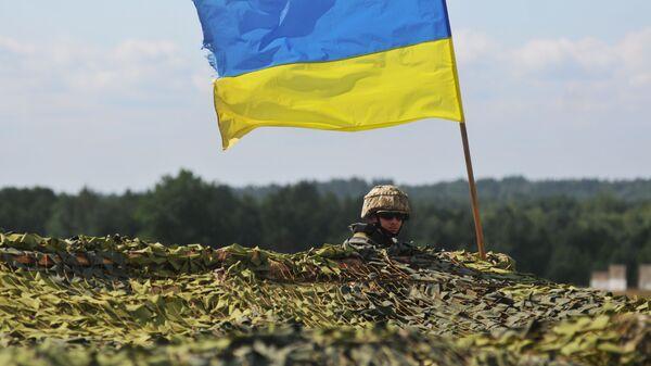 Ukraiński żołnierz na międzynarodowych ćwiczeniach Rapid Trident 2016 na poligonie Jaworów w obwodzie lwowskim - Sputnik Polska