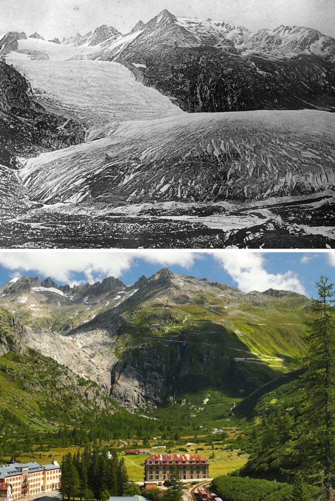 Lodowiec Rodanu w 1849 i 2019 roku