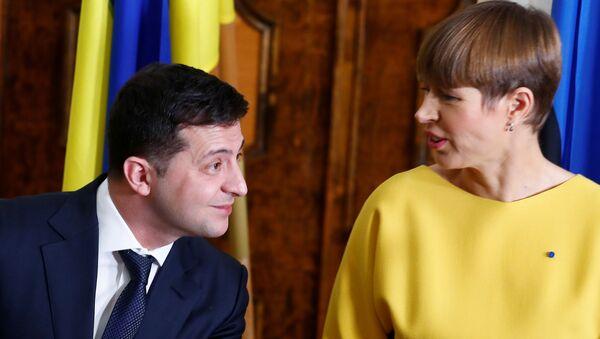 Prezydent Estonii Kersti Kaljulaid i prezydent Ukrainy Wołodymyr Zełenski - Sputnik Polska