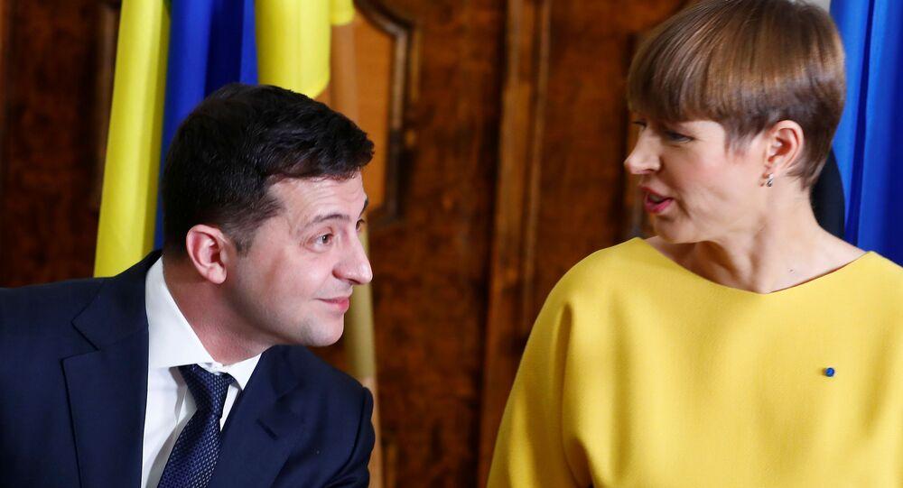 Prezydent Estonii Kersti Kaljulaid i prezydent Ukrainy Wołodymyr Zełenski