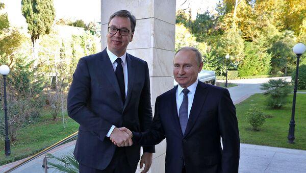 Prezydent Serbii Aleksandar Vučić  i prezydent Rosji Władimir Putin - Sputnik Polska