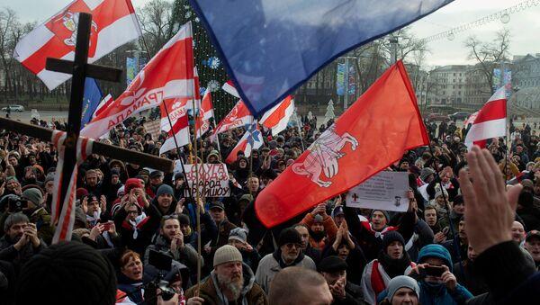 Wiec przeciwko integracji z Rosją w Mińsku na Białorusi - Sputnik Polska