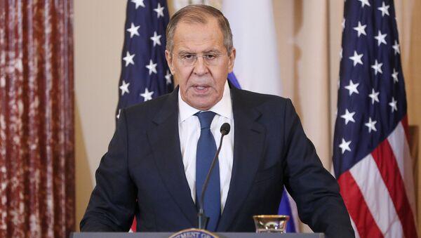 Minister spraw zagranicznych Rosji Siergiej Ławrow na konferencji prasowej po spotkaniu w Waszyngtonie - Sputnik Polska