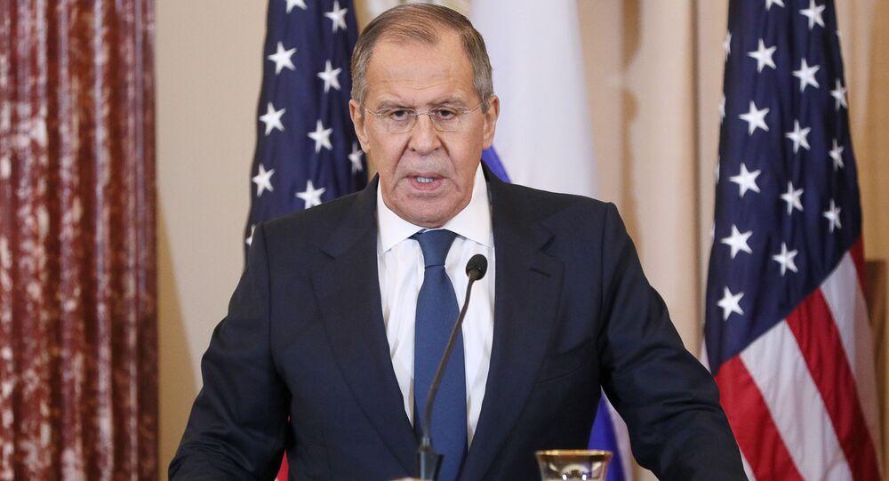 Minister spraw zagranicznych Rosji Siergiej Ławrow na konferencji prasowej po spotkaniu w Waszyngtonie