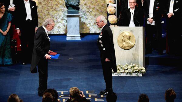 Austriacki pisarz Peter Handke podczas ceremonii wręczenia Nagrody Nobla w dziedzinie literatury w Szwecji - Sputnik Polska