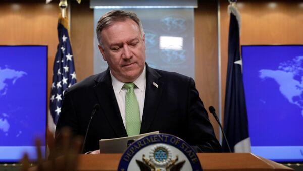 Sekretarz stanu USA Mike Pompeo na konferencji prasowej w Waszyngtonie - Sputnik Polska