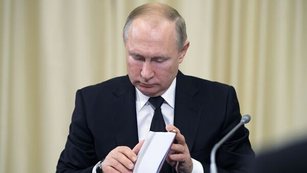 Prezydent Rosji Władimir Putin w czasie tradycyjnego spotkania z sędziami Trybunału Konstytucyjnego Rosji - Sputnik Polska