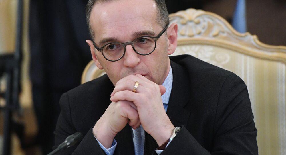 Minister spraw zagranicznych Niemiec Heiko Maas podczas spotkania z ministrem spraw zagranicznych Rosji Siergiejem Ławrowem