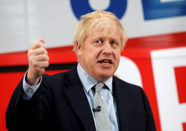 Premier Wielkiej Brytanii Boris Johnson podczas kampanii wyborczej w Manchesterze w Wielkiej Brytanii