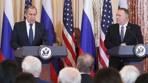 Konferencja prasowa z udziałem ministra spraw zagranicznych Rosji Siergieja Ławrowa i sekretarza stanu USA Mika Pompeo w Waszyngtonie. - Sputnik Polska