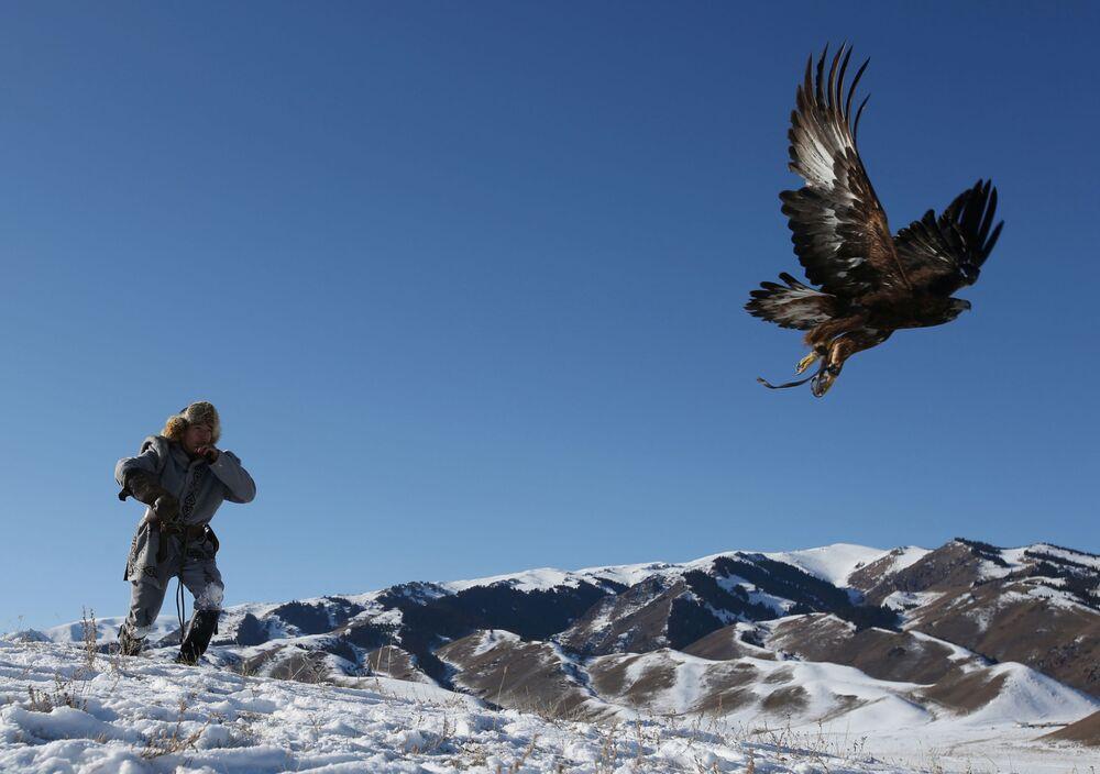 Myśliwy z orłem podczas tradycyjnego polowania w Kazachstanie