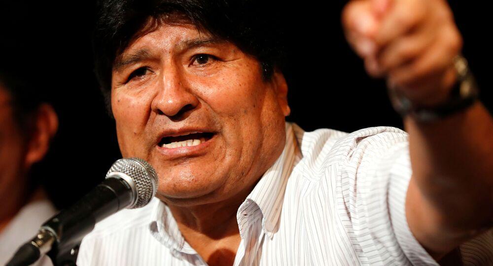 Były prezydent Boliwii Evo Morales na konferencji prasowej w Buenos Aires