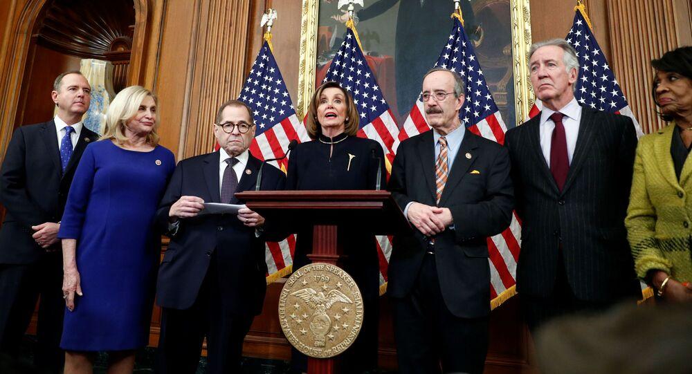 Spiker Izby Reprezentantów Nancy Pelosi po głosowaniu w sprawie impeachmentu Trumpa w Waszyngtonie